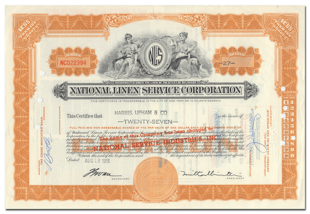 National Linen Service Corporation Stock Certificate