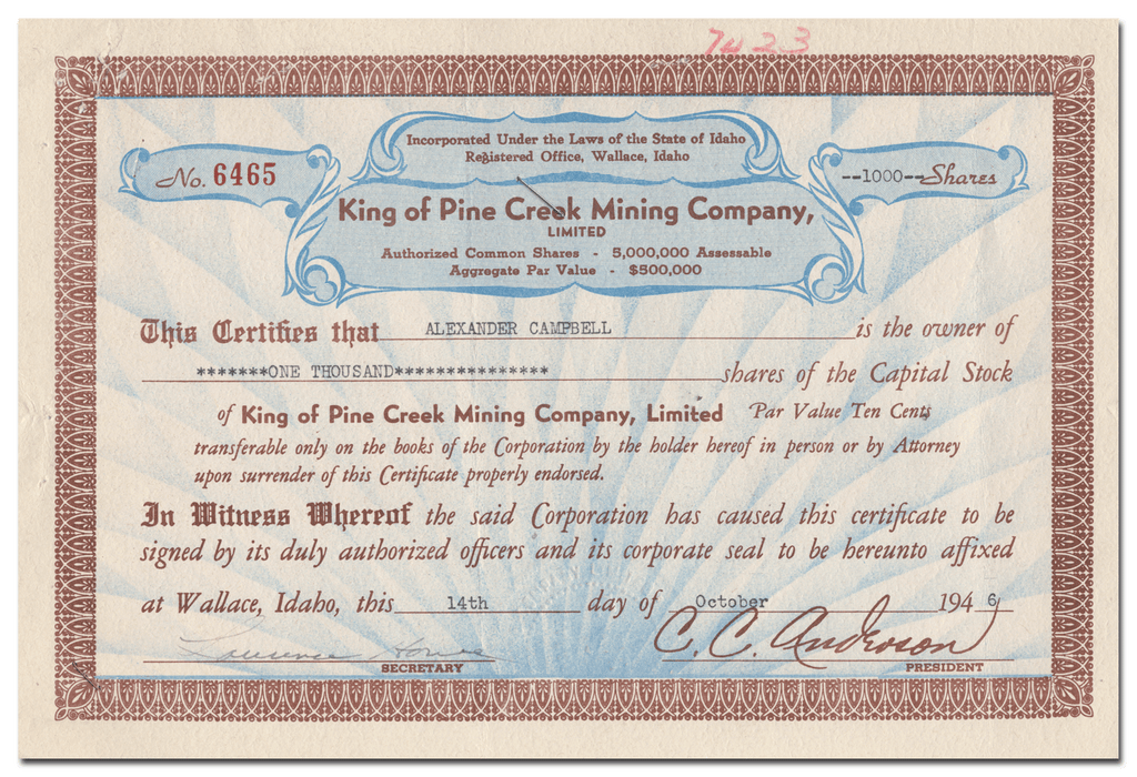 King of Pine Creek Mining Company, Limited Stock Certificate