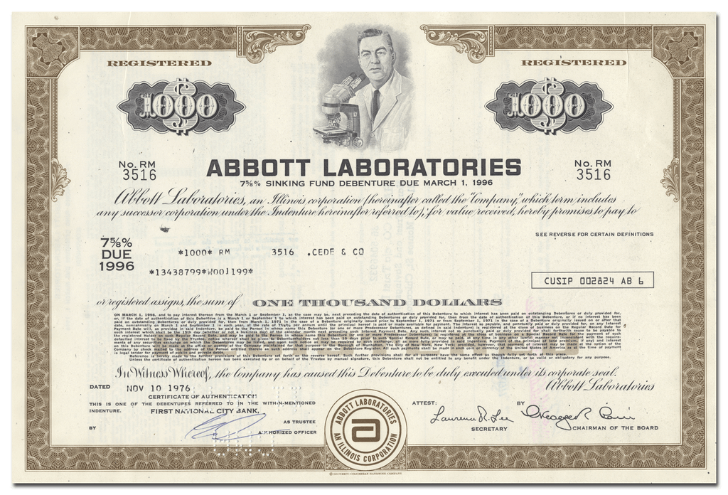 Abbott Laboratories Bond Certificate