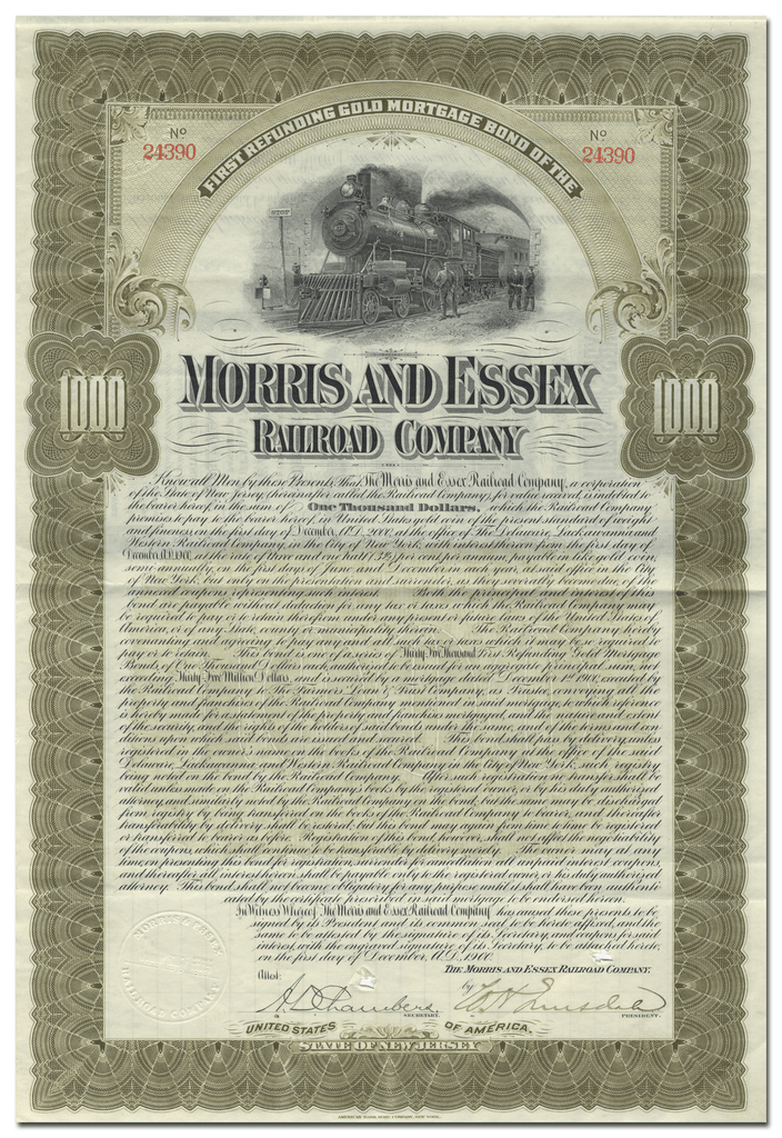 Morris and Essex Railroad Company Bond Certificate