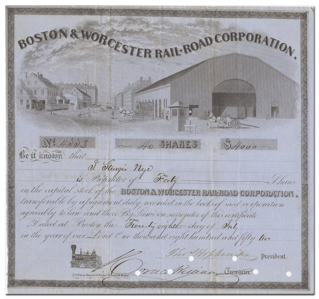 Boston & Worcester Rail-Road Corporation Stock Certificate