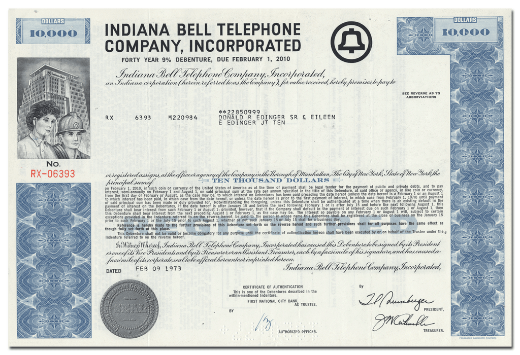 Indiana Bell Telephone Company, Incorporated Bond Certificate