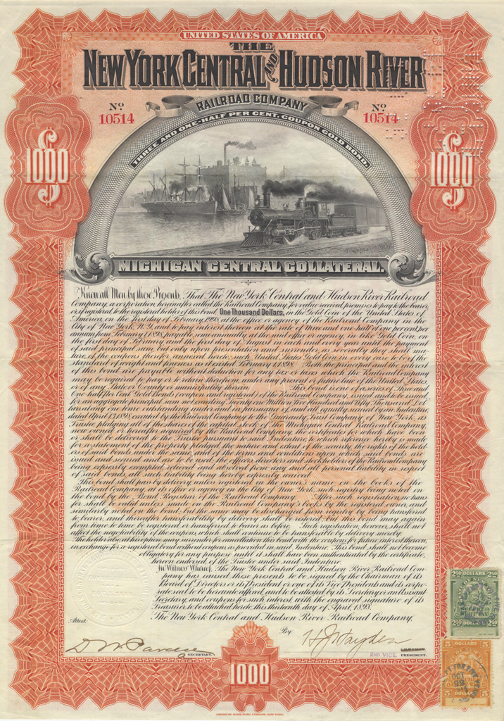 New York and Hudson River Railroad Company Bond Certificate