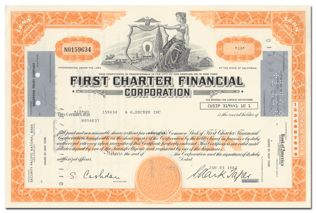 First Charter Financial Corporation Stock Certificate