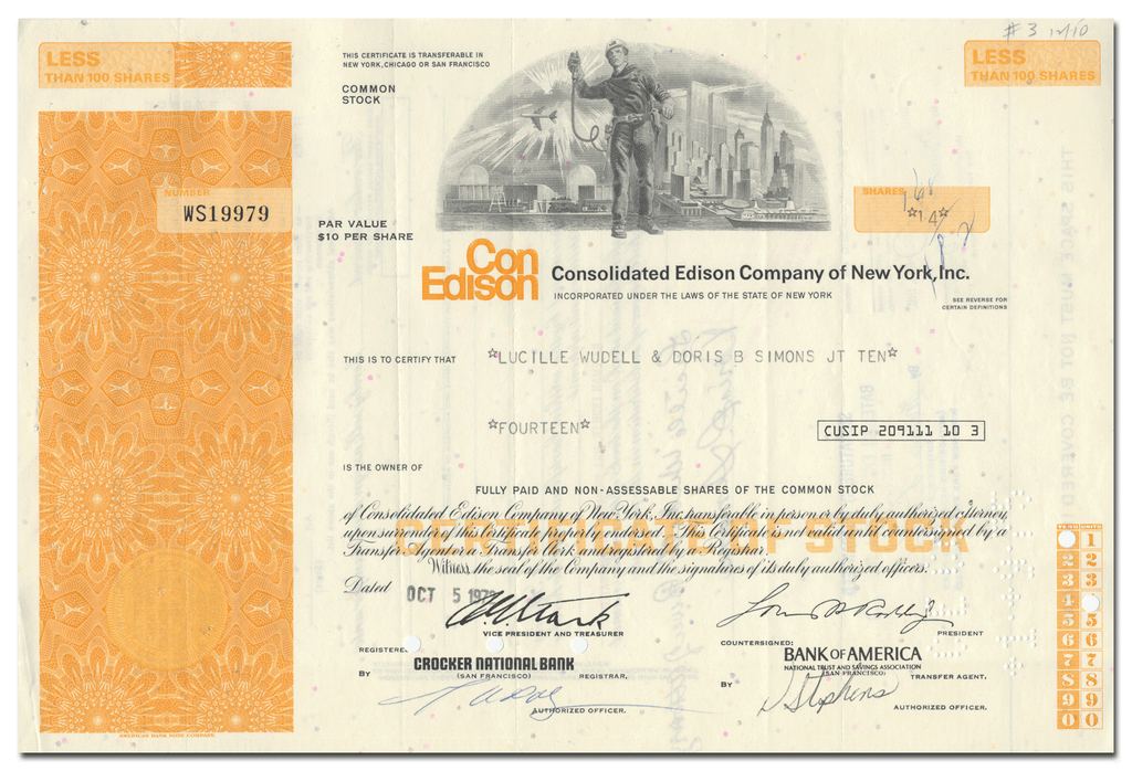 Consolidated Edison Company of New York, Inc. Stock Certificate