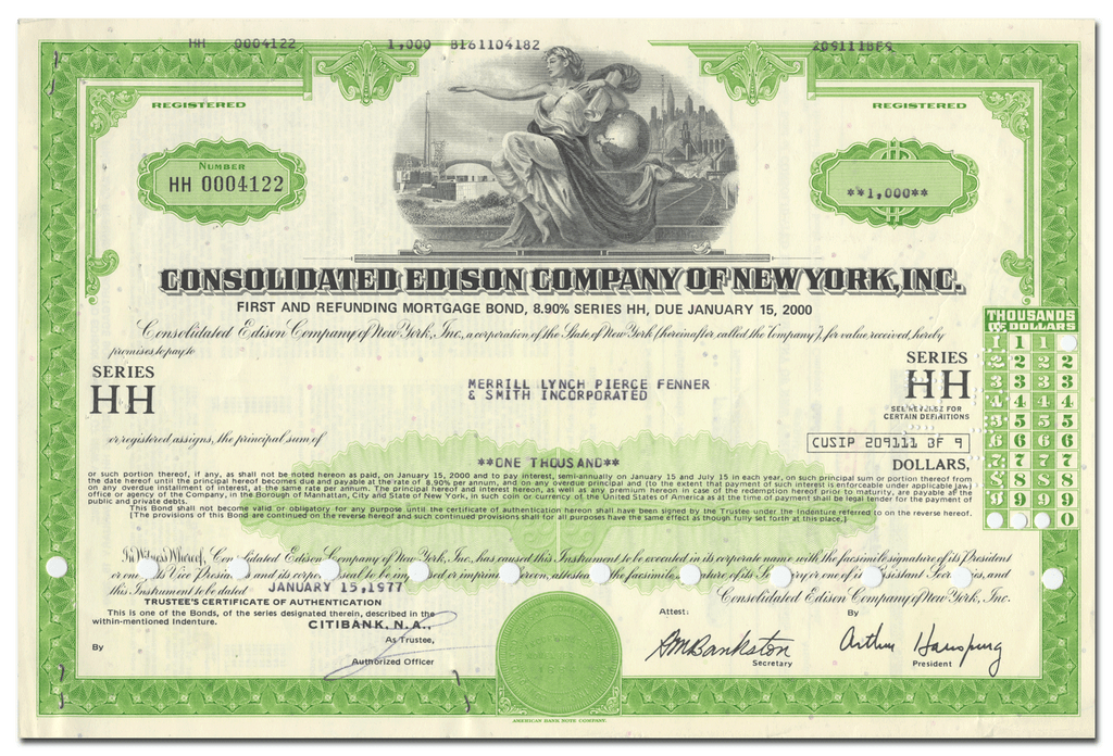 Consolidated Edison Company of New York, Inc. Bond Certificate