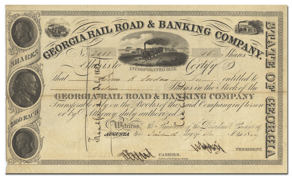 Georgia Rail Road & Banking Company Stock Certificate