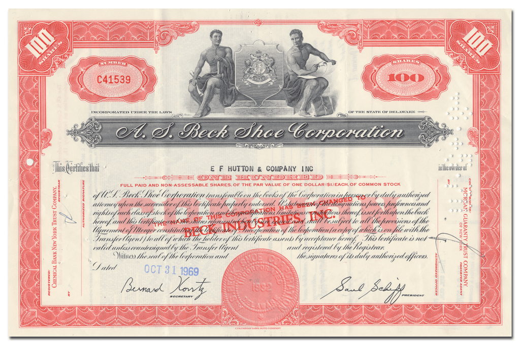 A. S. Beck Shoe Corporation Stock Certificate