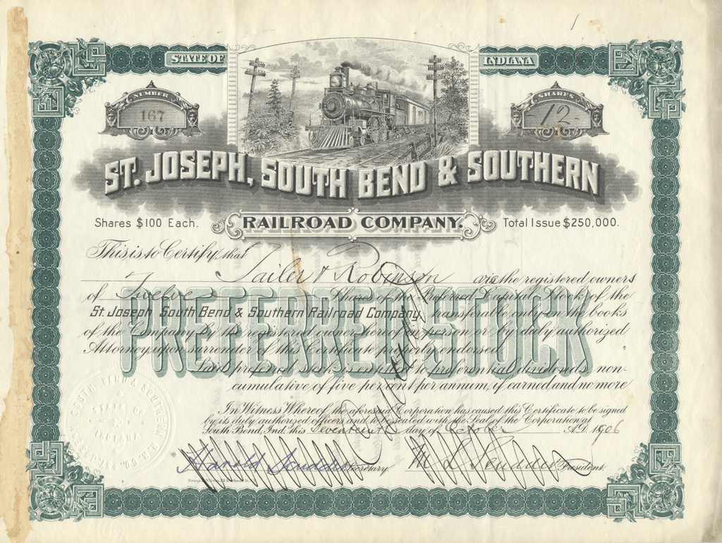 St. Joseph, South Bend & Southern Railroad Company Stock Certificate