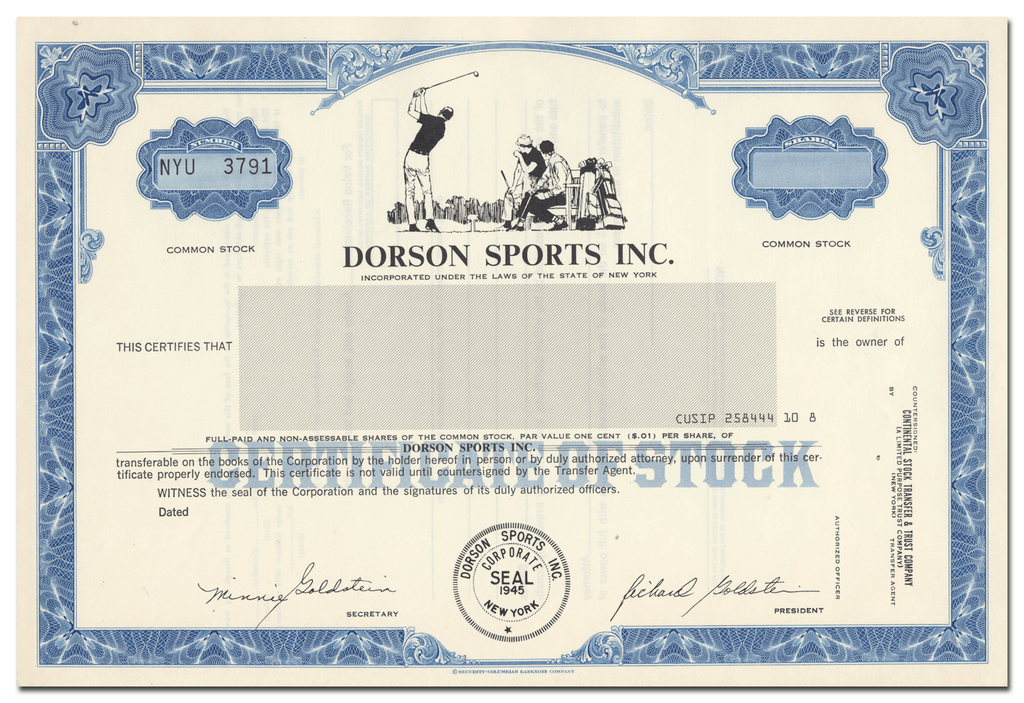 Dorson Sports Inc. Stock Certificate
