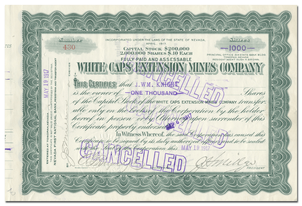 White Caps Extension Mines Company Stock Certificate