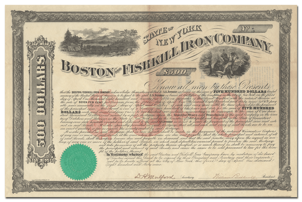 Boston and Fishkill Iron Company Stock Certificate