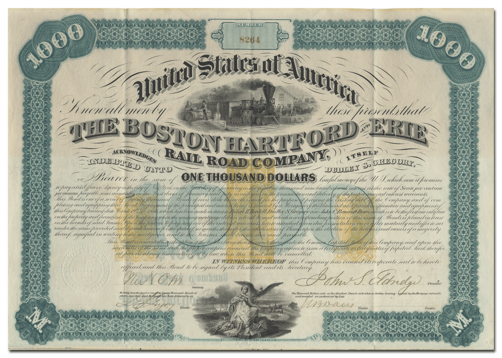 Boston, Hartford and Erie Rail Road Company Stock Certificate