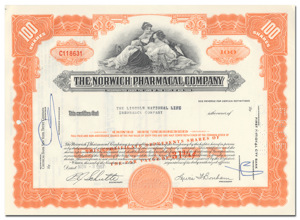 Norwich Pharmacal Company Stock Certificate