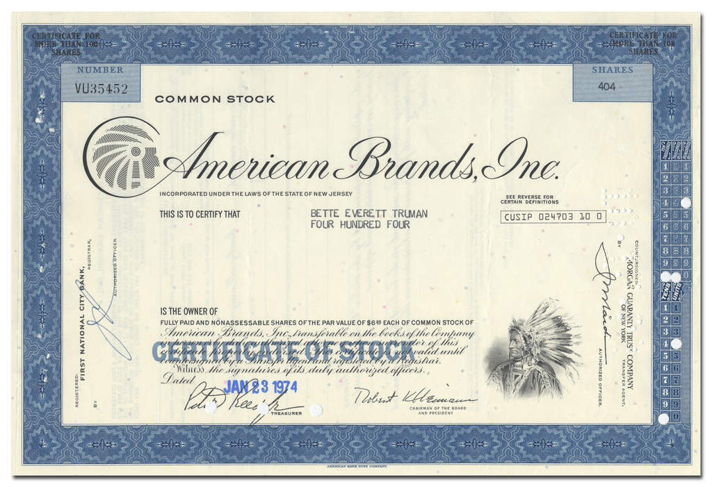 American Brands, Inc. Stock Certificate
