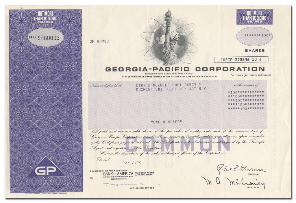 Georgia Pacific Corporation Stock Certificate