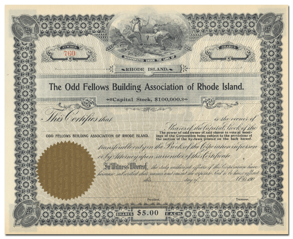 Odd Fellows Building Association of Rhode Island Stock Certificate