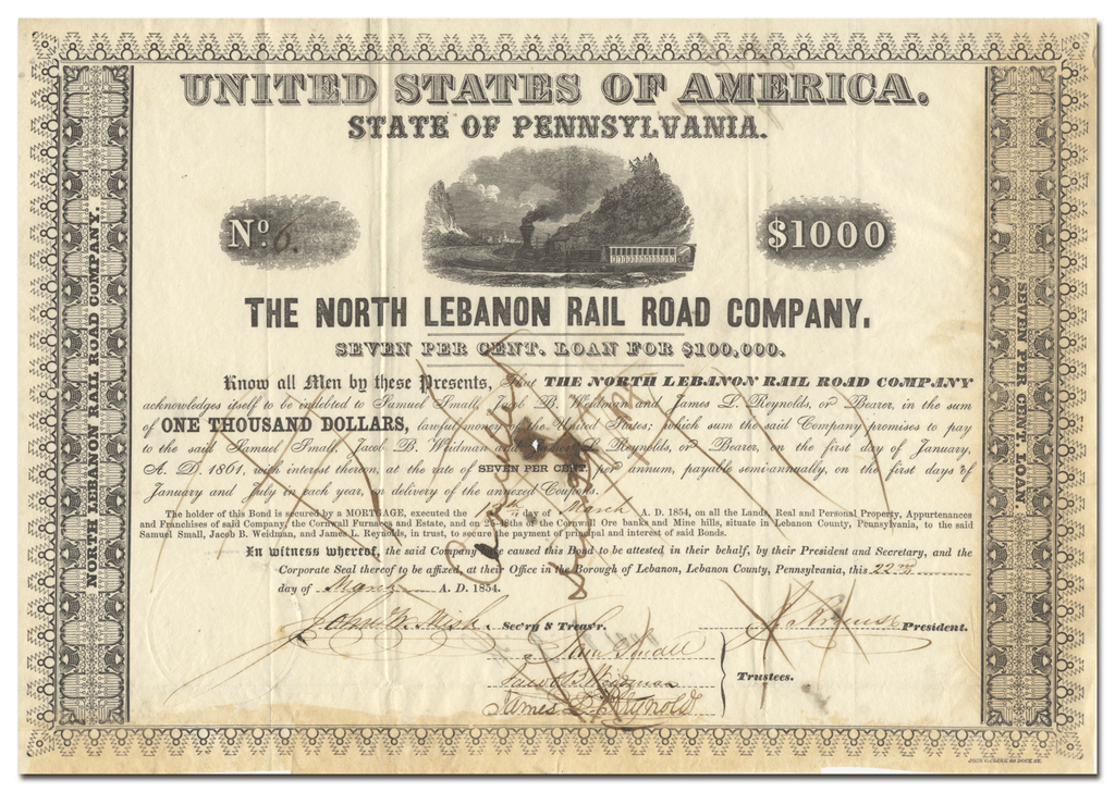North Lebanon Rail Road Company Stock Certificate