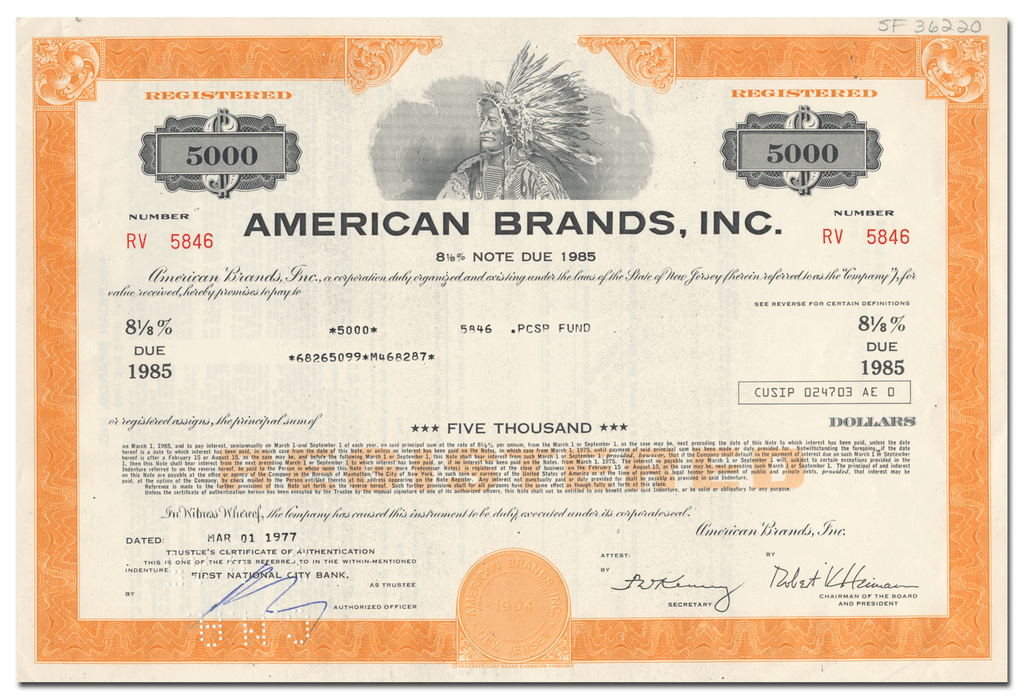 American Brands, Inc. Bond Certificate