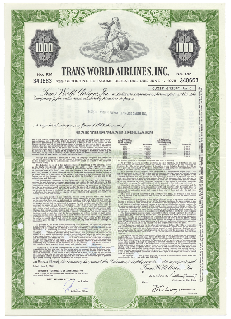 Trans World Airlines, Inc. Bond Certificate