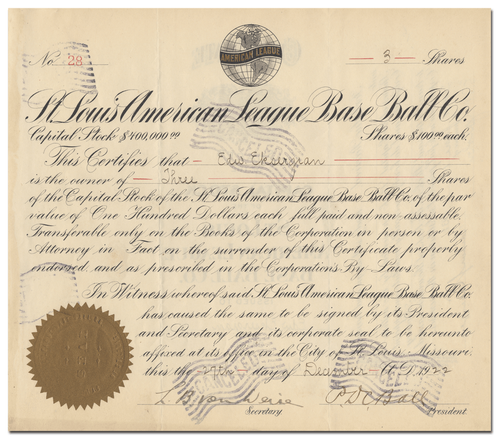 St. Louis American League Base Ball Co. Stock Certificate Signed by D. C. Ball