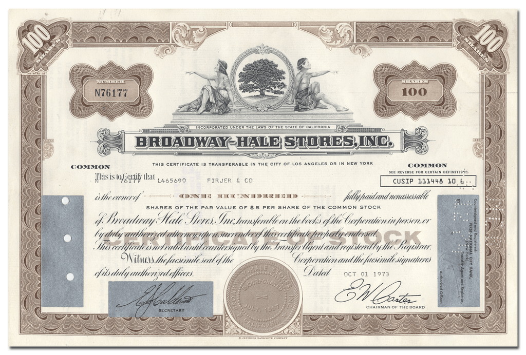 Broadway-Hale Stores, Inc. Stock Certificate