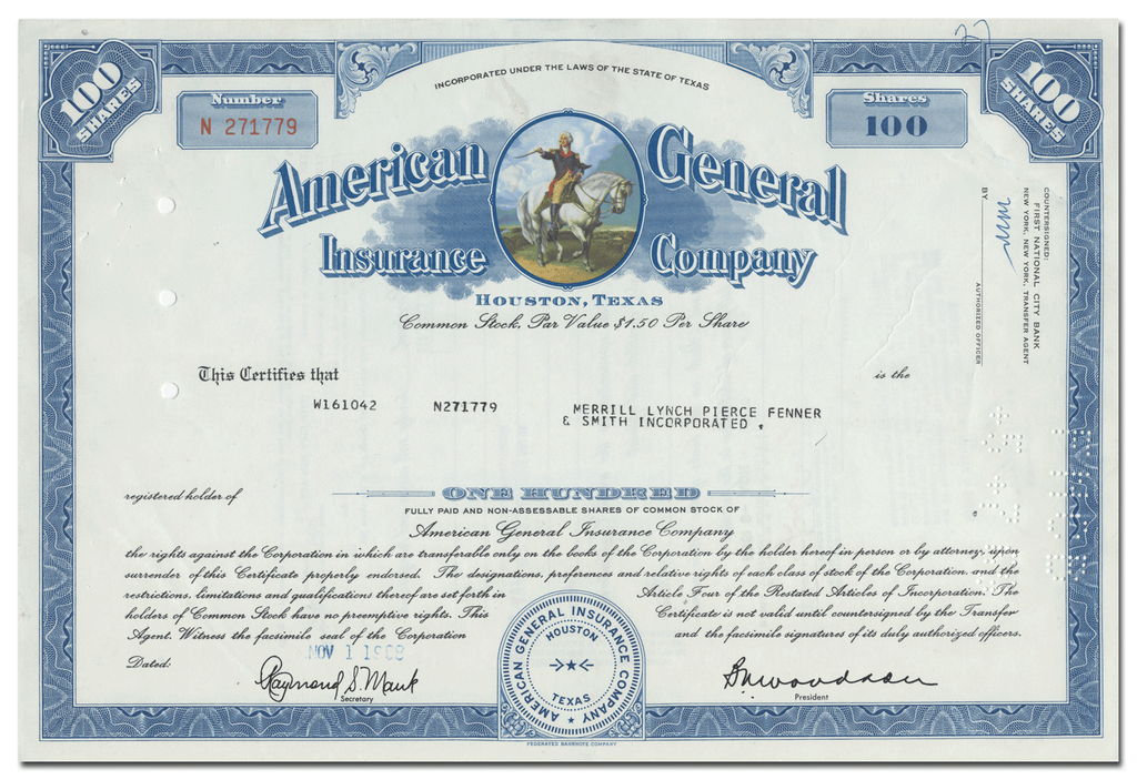 American General Insurance Company Stock Certificate