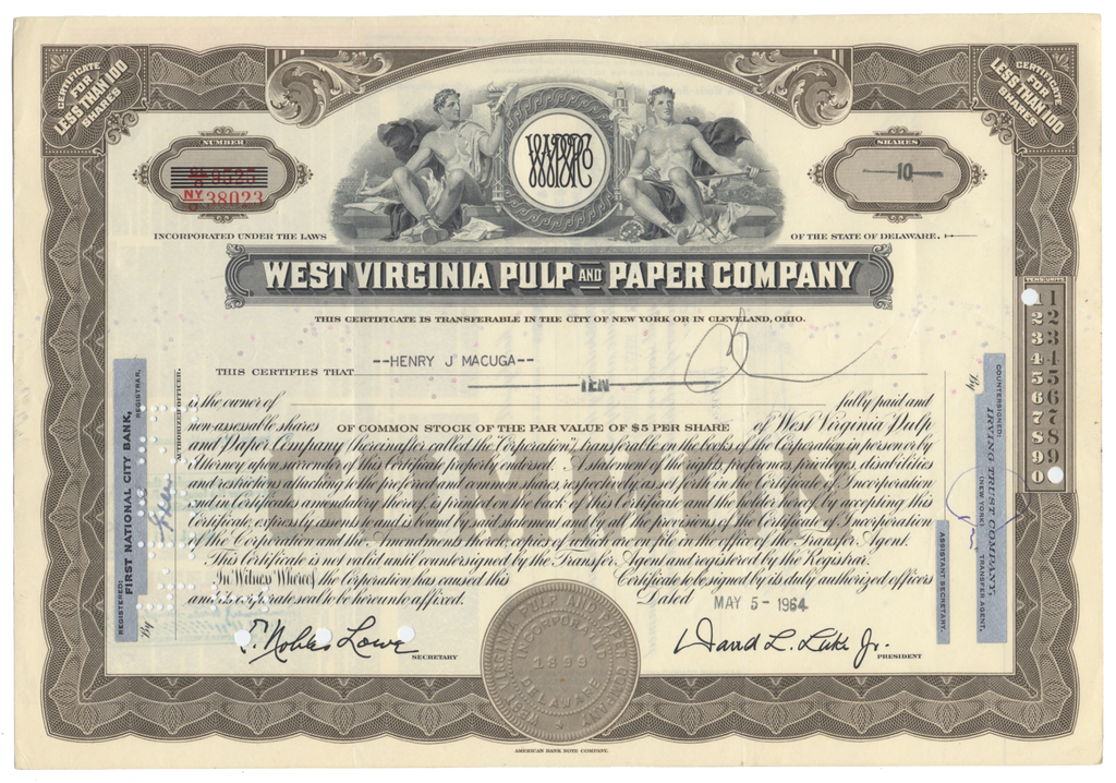 West Virginia Pulp and Paper Company Stock Certificate