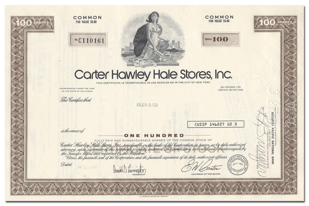 Cater Hawley Hale Stores, Inc. Stock Certificate