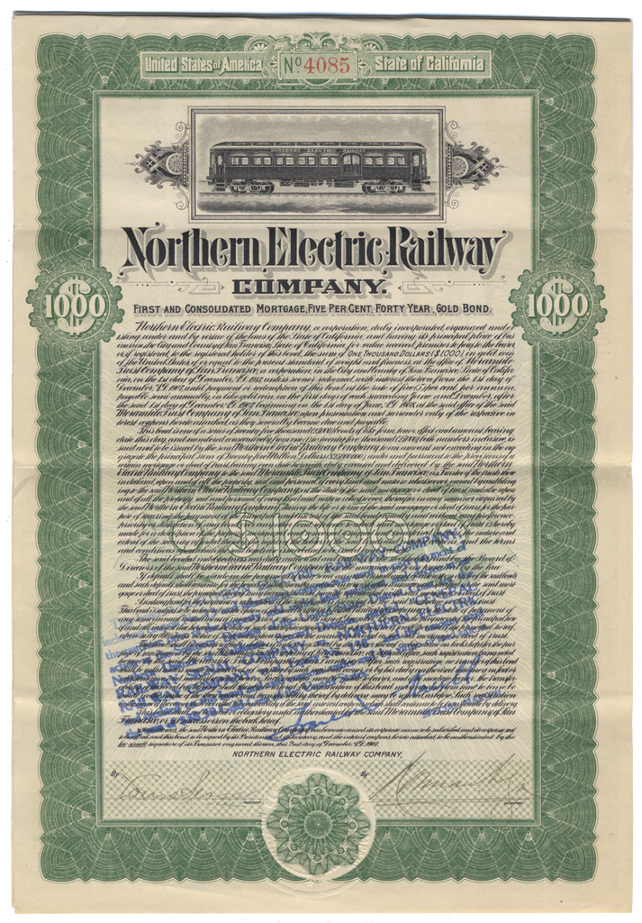 Northern Electric Railway Company Bond Certificate
