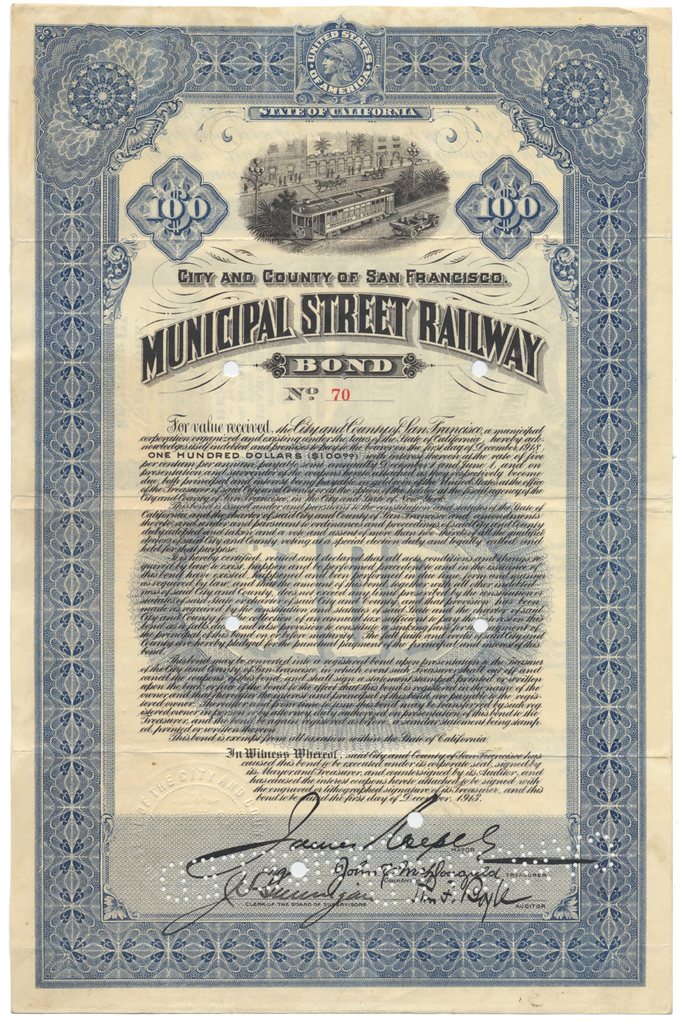 Municipal Street Railway Bond Certificate (San Francisco)