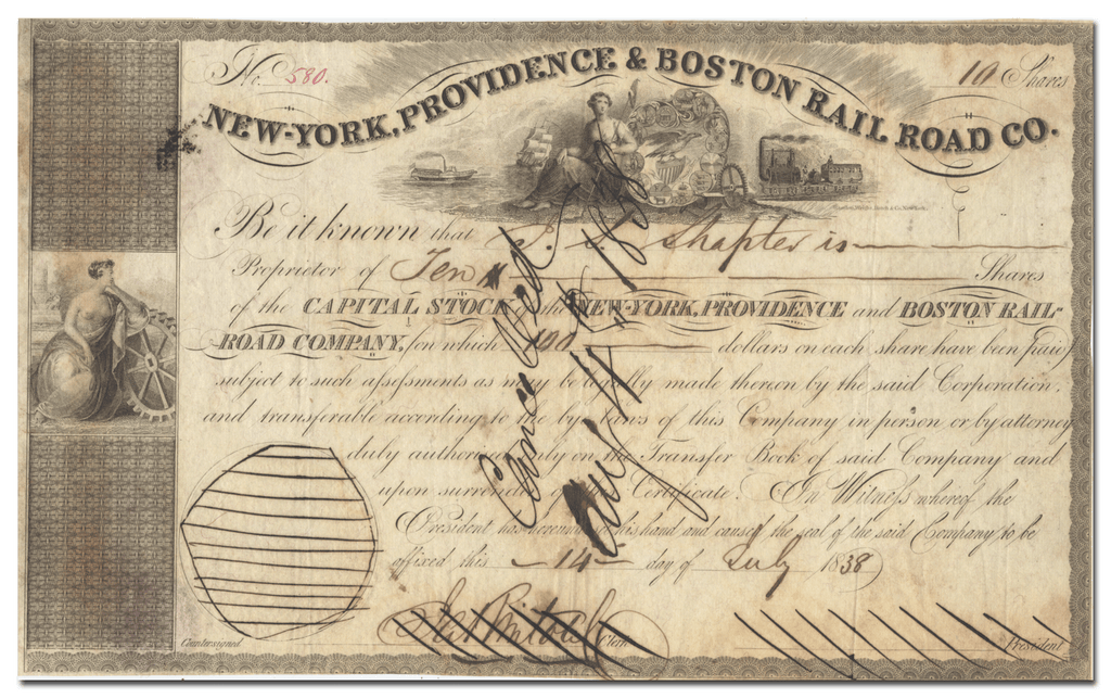 New-York, Providence & Boston Rail Road Company Stock Certificate
