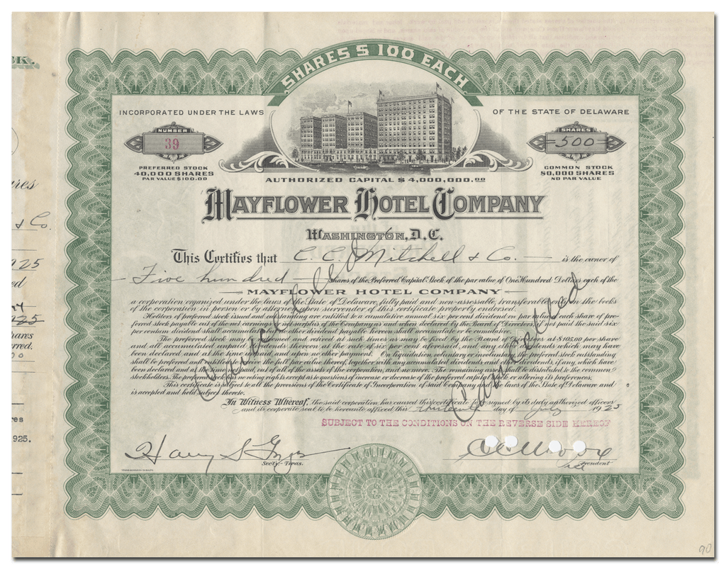 Mayflower Hotel Company Stock Certificate