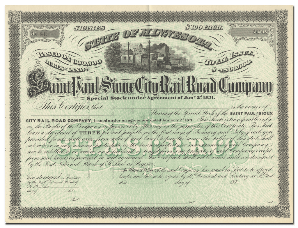 Saint Paul and Sioux City Rail Road Company Stock Certificate