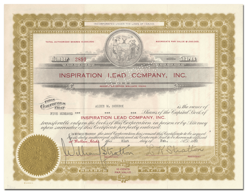Inspiration Lead Company, Inc. Stock Certificate
