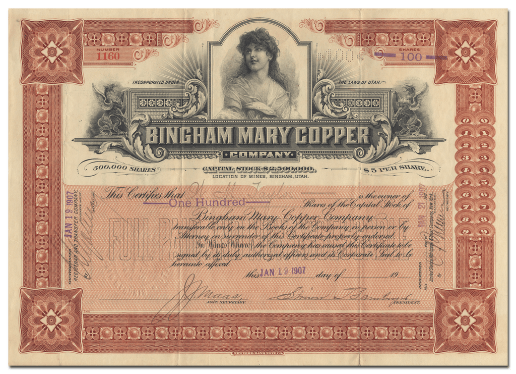 Bingham Mary Copper Company Stock Certificate Signed by Simon Bamberger