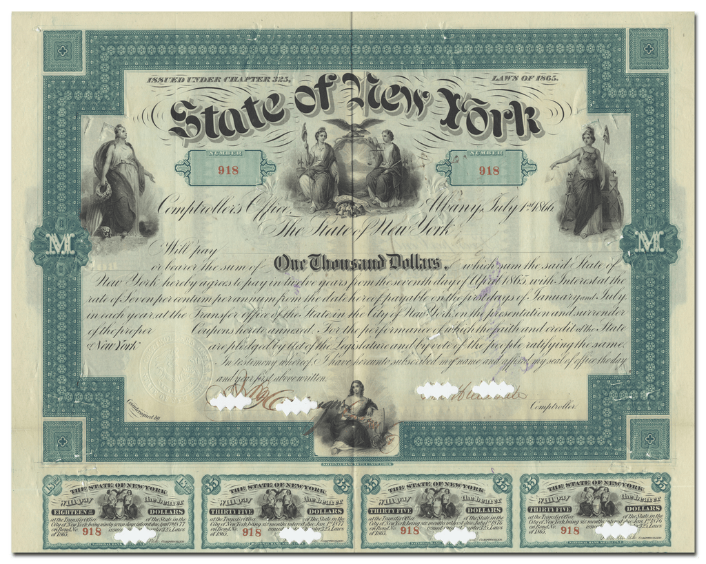 State of New York Bounty Bond Certificate