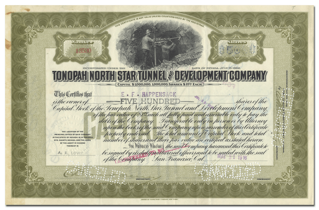 Tonopah North Star Tunnel and Development Company Stock Certificate