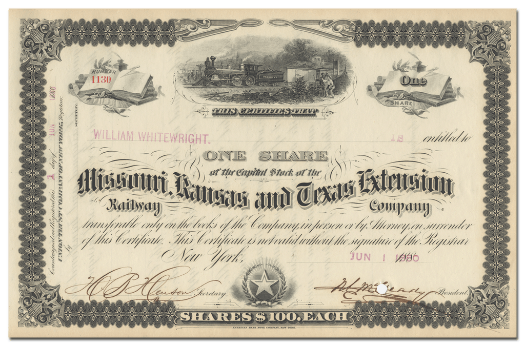 Missouri, Kansas and Texas Extension Railway Company Stock Certificate