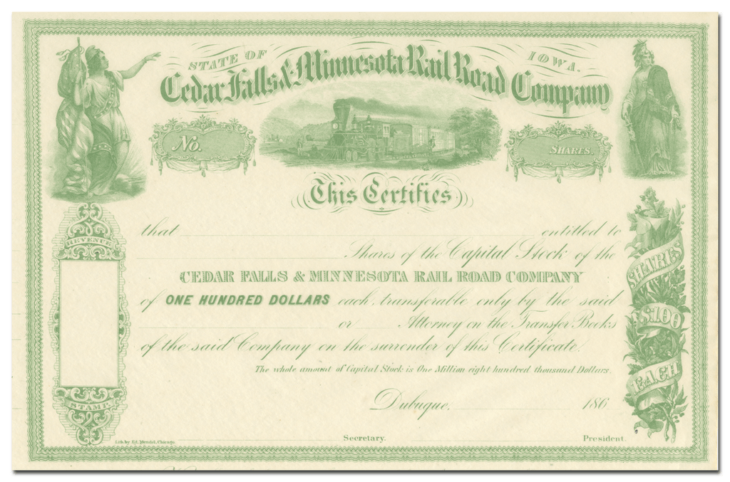 Cedar Falls and Minnesota Rail Road Company Stock Certificate