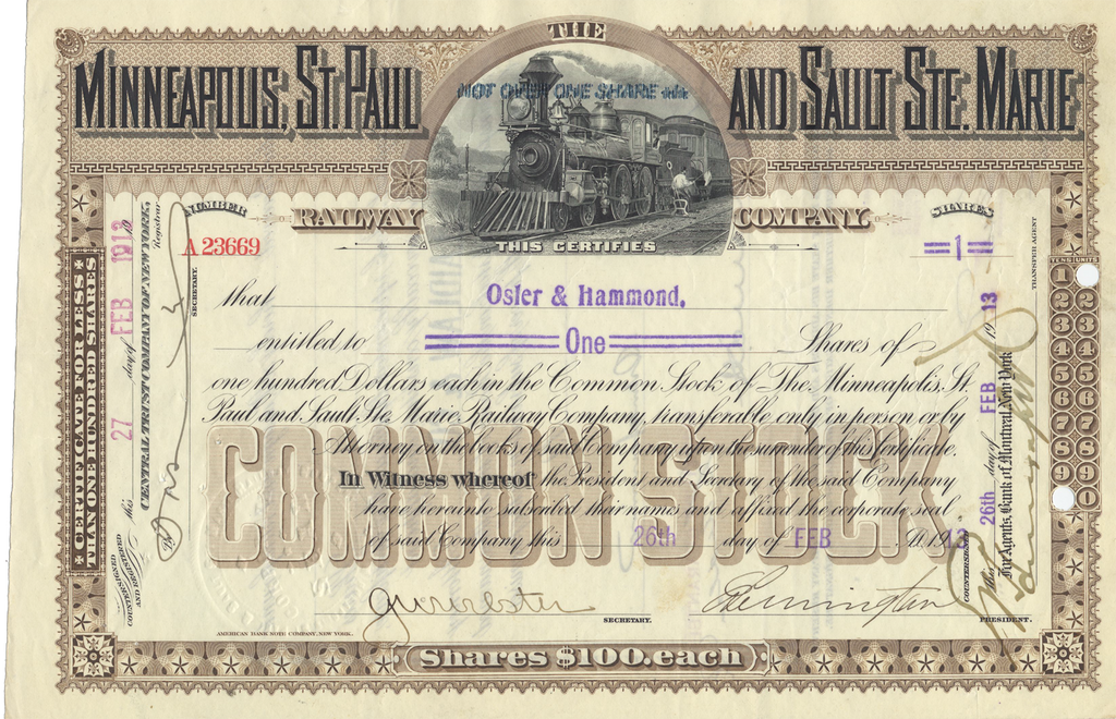 Minneapolis, St. Paul and Sault St. Marie Railway Company Stock Certificate