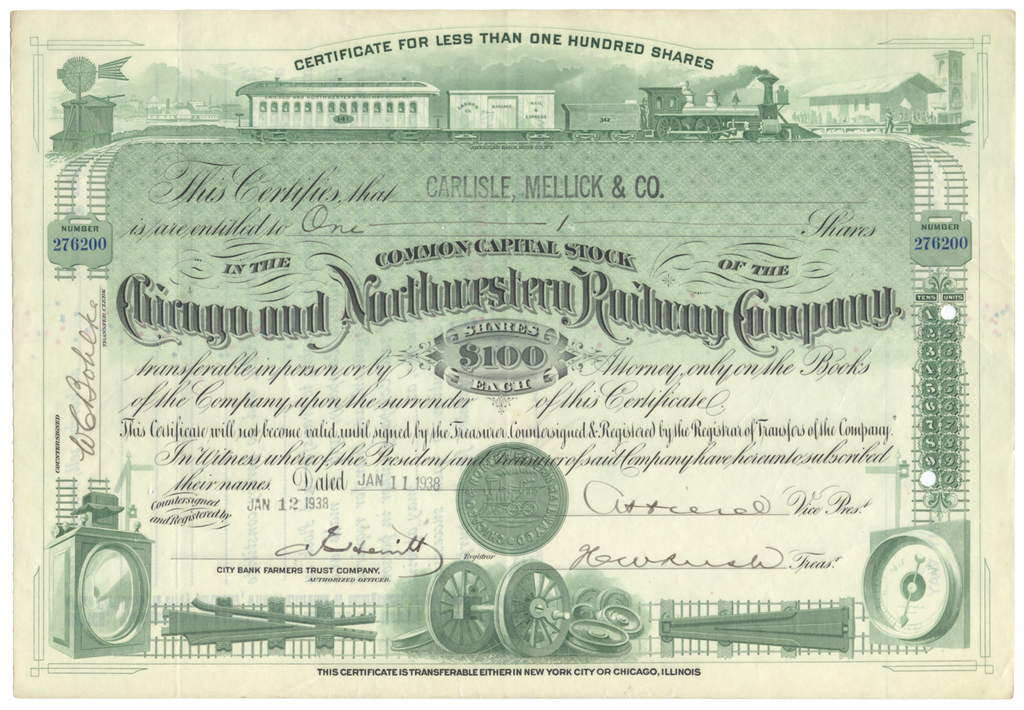 Chicago and Northwestern Railway Company Stock Certificate