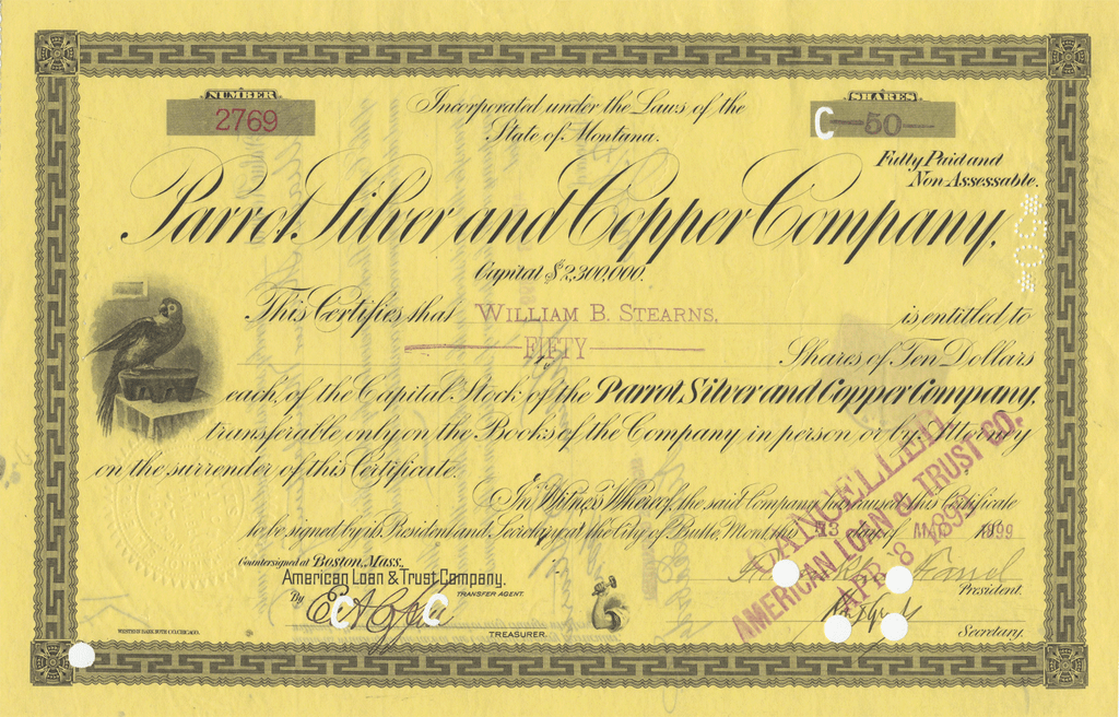 Parrot Silver and Copper Company Stock Certificate