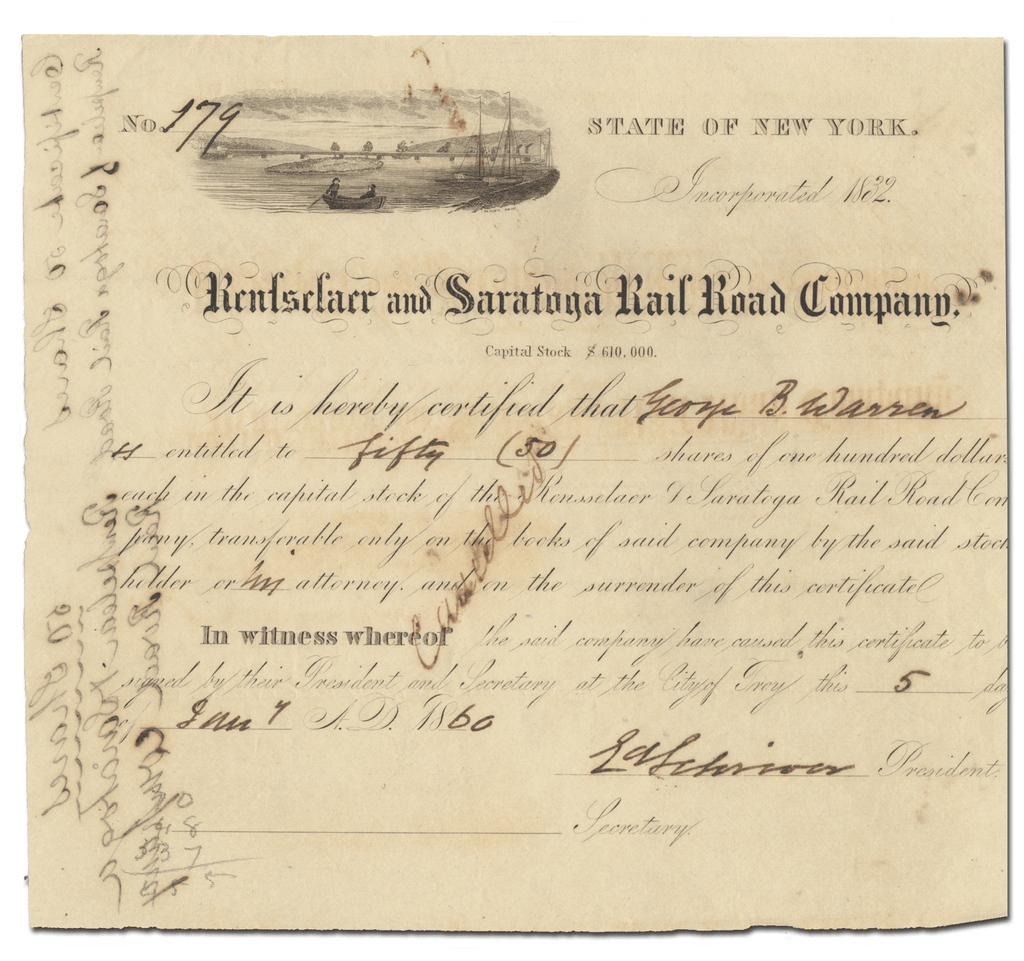 Rensselaer and Saratoga Rail Road Company Stock Certificate