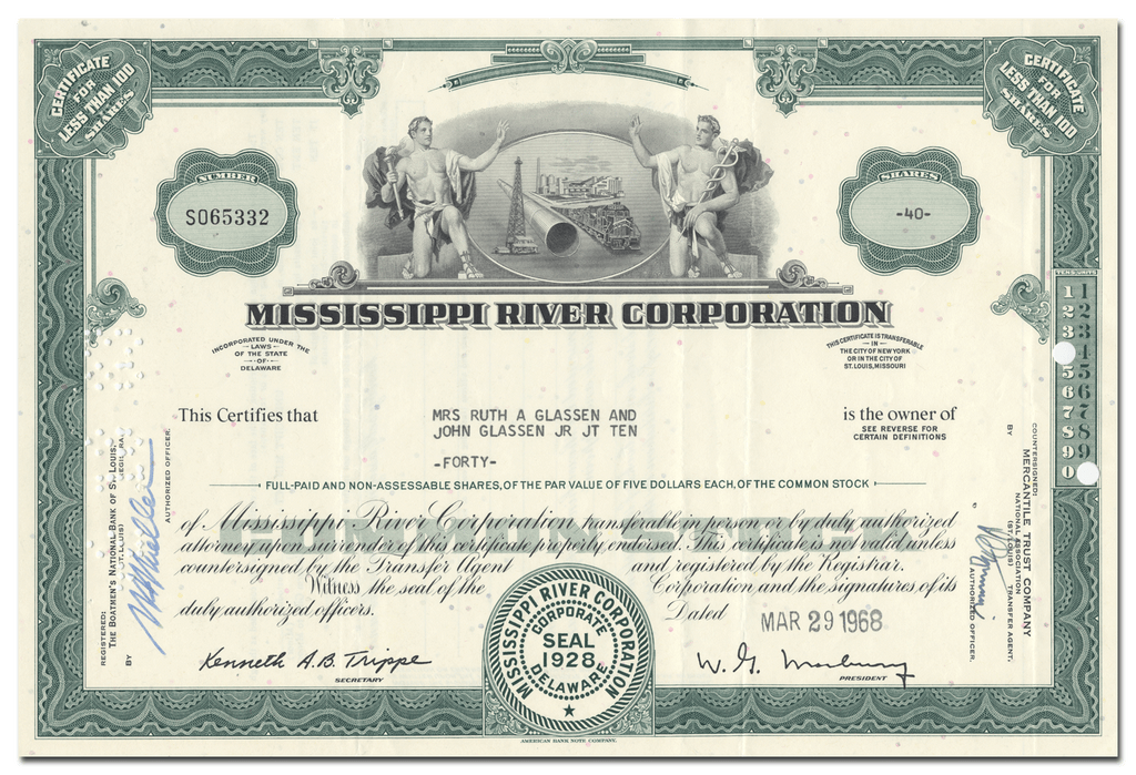 Mississippi River Corporation Stock Certificate