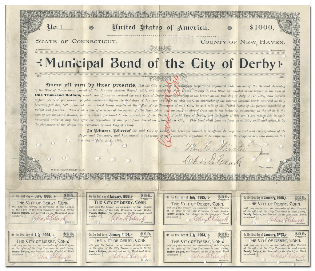 Derby, Connecticut Bond Certificate