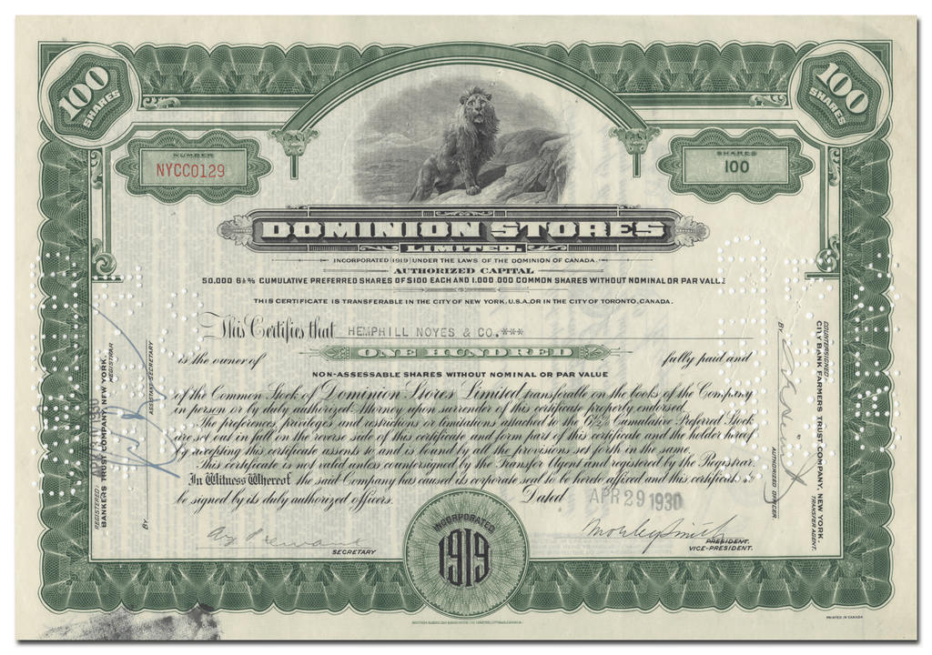 Dominion Stores Limited Stock Certificate