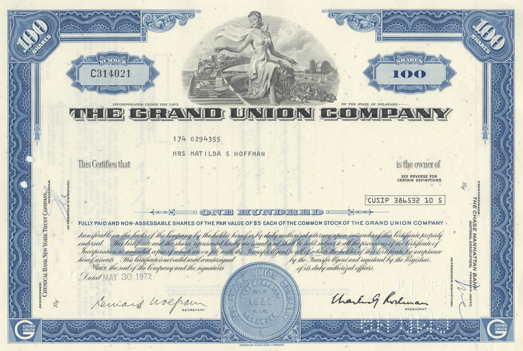 Grand Union Company Stock Certificate