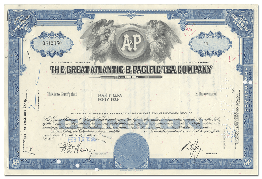 Great Atlantic & Pacific Tea Company Stock Certificate