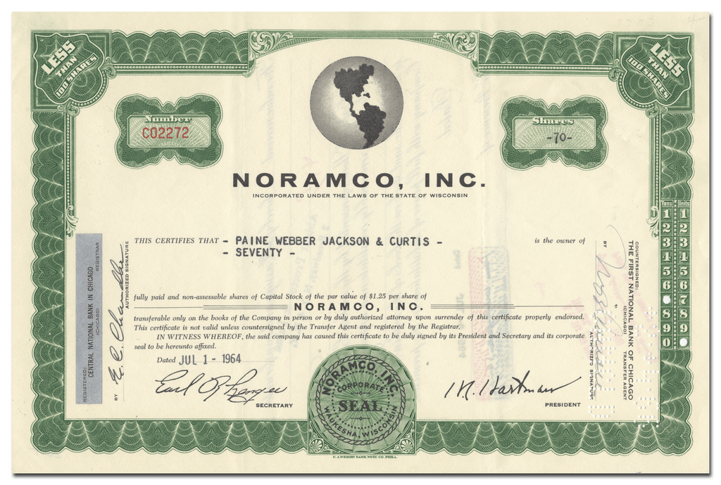 Noramco, Inc. Stock Certificate
